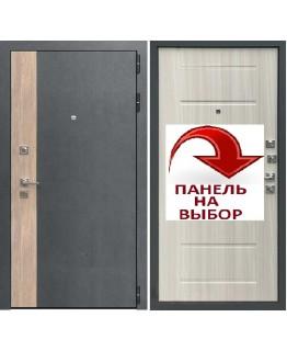 Дверь БРУКЛИН серая штукатурка-дуб европейский красный