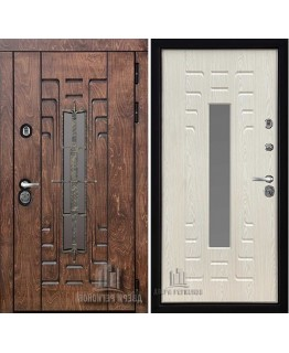 Дверь ВИКИНГ WF входная со стеклопакетом корабельный шпон