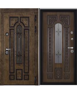 Дверь АРКТИКА входная со стеклопакетом корабельный шпон