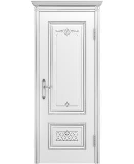 Дверь Аккорд Белая эмаль В3 ПГ Серебряная патина