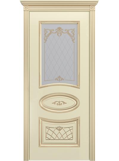 Дверь Ария Слоновая кость В3 ПО Золотая патина