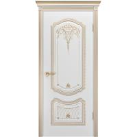 Дверь Соло Корона Белая эмаль В3 ПГ патина золото