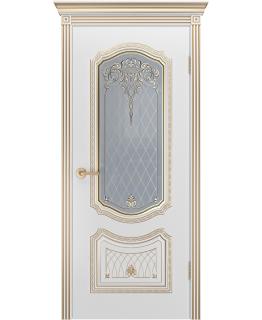Дверь Соло Корона Белая эмаль В3 ПО патина золото
