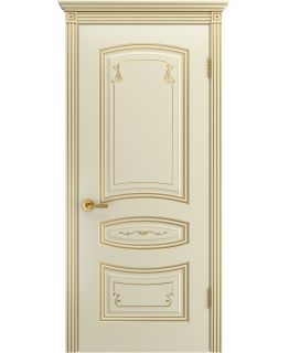 Дверь Соната Грейс Слоновая кость В2 ПГ патина золото