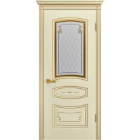 Дверь Соната Грейс Слоновая кость В2 ПО патина золото
