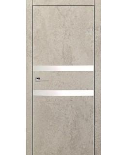 Дверь VS-2 Line Бетон бежевый со стеклом с алюминиевой кромкой