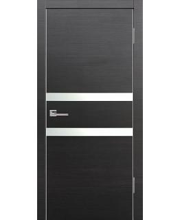 Дверь VS-2 Line Венге горизонт со стеклом с алюминиевой кромкой