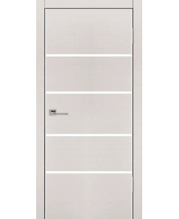 Дверь VS-4 Line беленый дуб горизонт со стеклом с алюминиевой кромкой