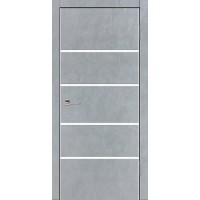 Дверь VS-4 Line Бетон серый со стеклом с алюминиевой кромкой
