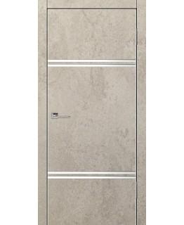 Дверь VS-5 Line Бетон бежевый со стеклом с алюминиевой кромкой
