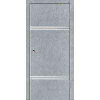 Дверь VS-5 Line Бетон серый со стеклом с алюминиевой кромкой