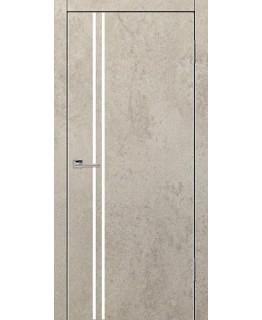 Дверь VS-6 Line Бетон бежевый со стеклом с алюминиевой кромкой