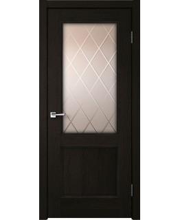 Дверь VellDoris  экошпон Classico 2V дуб черный, стекло бронза