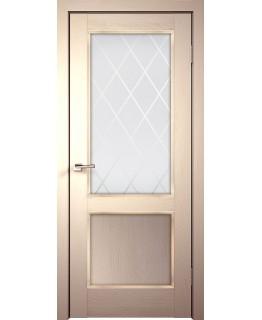 Дверь VellDoris  экошпон Classico 2V слоновая кость, стекло белое