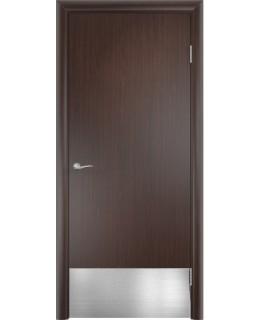 Дверь гладкая влагостойкая Аква дуб венге с отбойной пластиной h200 мм