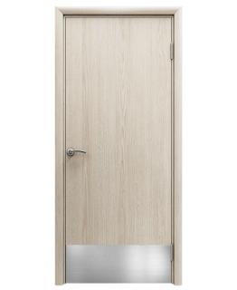 Дверь гладкая влагостойкая Аква скандинавский дуб с отбойной пластиной h200 мм