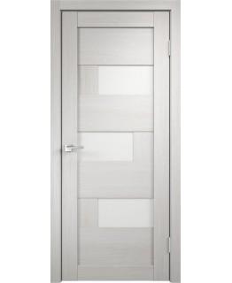 Дверь VellDoris  экошпон Domino дуб белый, стекло лакобель белое