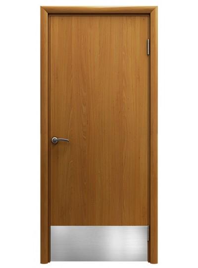 Дверь гладкая влагостойкая Аква миланский орех с отбойной пластиной h200 мм