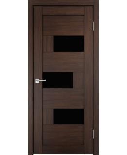 Дверь VellDoris  экошпон Domino венге, стекло лакобель черное