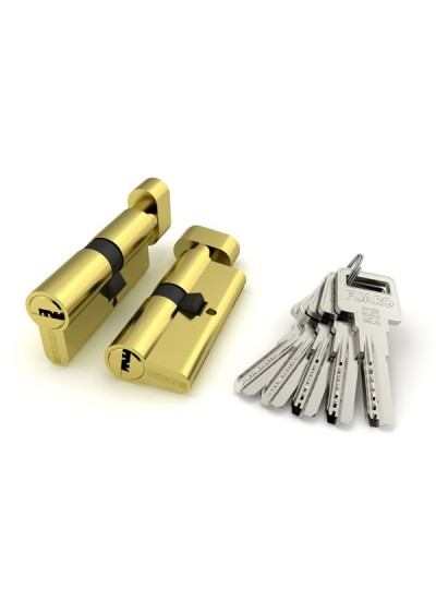 Цилиндровый механизм ТS-60 ключ/вертушка (Личинка) Золото PB