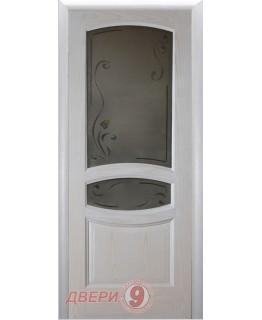 """Межкомнатная дверь """"Лига"""" Аврора  Остекленная Цвет Белый ясень"""
