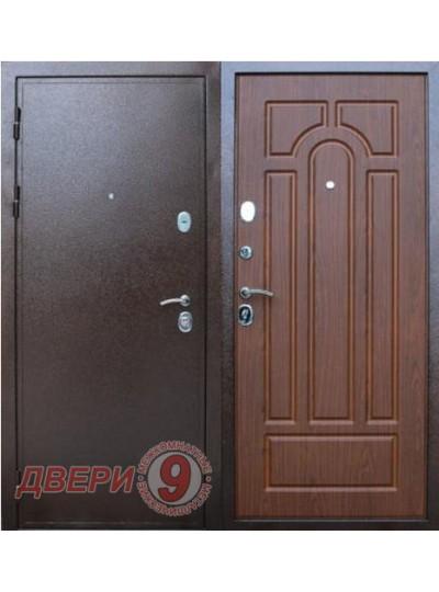 Дверь металлическая ПРЕСТИЖ Медный антик / Орех тисненый