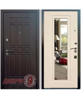 Дверь металлическая Рекс Сенатор СТАНДАРТ 16 венге с Зеркалом беленый дуб