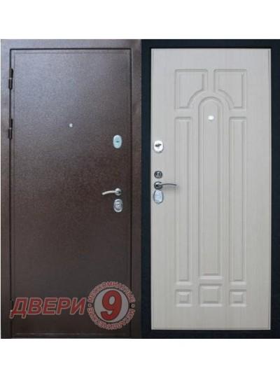 Дверь металлическая ПРЕСТИЖ Медный антик / Беленый дуб