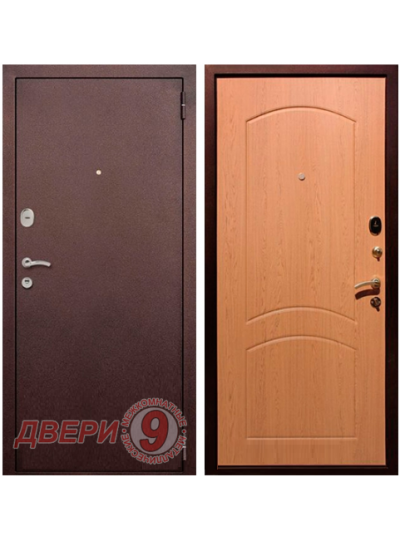 Дверь металлическая РЕКС 1А Медный антик/ Дуб натуральный