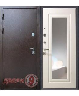 Дверь металлическая ПРЕСТИЖ Зеркало Беленый дуб