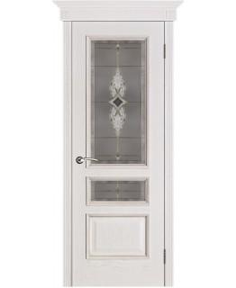 """Дверь ВЕНА Белая патина """"Вист"""" стекло Витраж"""